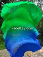 Belly dance Chinese fan veil 100% real silk pair more than 30 colors