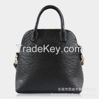 Foucsone Black Ostrich Grain PU leather Dome Satchel Top Handle Bag with strap