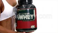 ON Gold standard 100 % Whey Protein Isolate delicious vanilla, strawberry and chocolate flavored