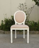 French style Ballet-shaped legs solid wood base button back and seat armrest chair
