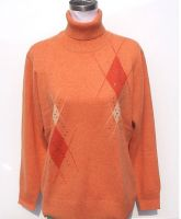 Women's turn-down collar sweater with rhinestones hotfixed