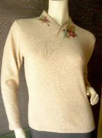 Sell Women's V neck cashmere sweater with computerized jacquard