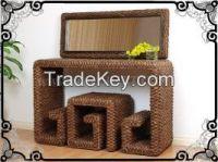 rattan hyacinth makeup table