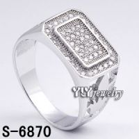 Sterling Silver  Micro Pave Setting Men Ring  Factory Price