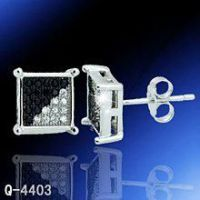 Hot Sale Black and White Rhodium Plated Earrings
