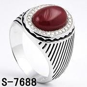 Sterling Silver Rhodium Men's Ring with Onyx Hot Sale