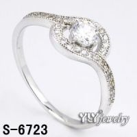 Wholesale Sterling Silver Rhodium Plated Lady's CZ Ring