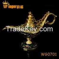 Metal Craft Aladdin Genie Lamp Figurine India Magic Lamp Souvenir