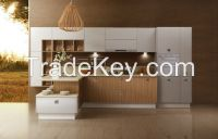 OPPEIN New Design PVC Kitchen Cabinet Wooden Cabinets Guangzhou Export