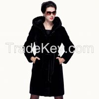 2015 Luxury Mink Hair Piping Statehood Real Sheepskin Fur Wool Women Black Color 100% Guaranteed Overcoat Coat Outerwear Jacket