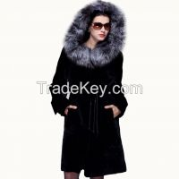 2015 Super Luxury Silver Fox Hair Collar Statehood Women's Real Sheepskin Fur Extra Long Genuine Leather Wool Outwear Overcoat