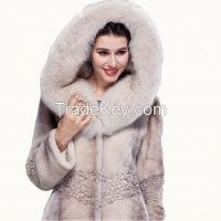 2015 Luxury Women Blue Fox Hair Statehood Cap Thick Real Merino Sheepskin Wool Fur Overcoat X-Long Winter Coat Outerwear Jackets