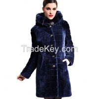2015 Luxury Mink Hair Trim Hooded Merino Sheepskin Fur Wool Double-faced Thick Slim Long Female Outwear Overcoat Clothing