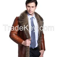 2015 Fashion Luxury Raccoon Dog Fur Hair Suit Collar Brown Black Merino Sheepskin Fur Wool Double Faced Men's Jackets Clothing