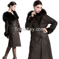 2015 Winter Tuscany Sheepskin Hair Trimmed Hooded Cap Merino Sheepskin Fur Wool Double-faced Long Thick Jacket Clothing Overcoat