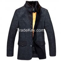 2015 Top Luxury Detachable Yellow-throated Marten Hair Liner Mink Hair Collar Thick Grey Wadded Cotton-padded Jacket Nick Coat Jacket Clothes