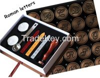 Roman Letter Sealing Wax Stamp Set for Gift 1 sealing Wax Stamp Head 1 wooden Handle 1 spoon
