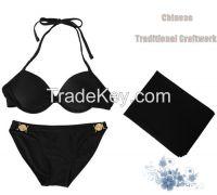 2 pcs nylon brazilian bikini padded sexy triangle bikini set push up for women black pink