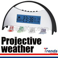 weather station projection clock, weather station clock with blue led