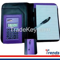 business pu notepad with calculator, leather notepad