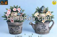 resin flower pot with lED light decoration