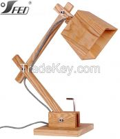 CE & UL wooden e27 60W Zhongshan under table light Wooden table lamp
