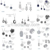925 silver jewelry set, setting cubic zircon, micro pave setting, rhodium plating