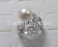 925 silver rings, setting cubic zircon & pearl, rhodium plating