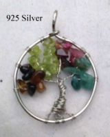 Life Tree 925 Silver Natural Stones Hand-made Women Pendant Different Size