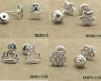 925 Silver Children Earrings With Safe Earrings Back MOQ:36 PRS Each Design