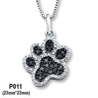 925 Silver Pendant Setting AAA CZ Dog Paw White n Black Color