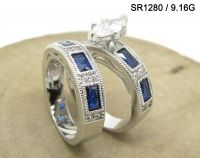 Sterling Silver Women Engagement Ring Wedding Couple Rings MOQ 36 PCS  Dark Blue n White Color