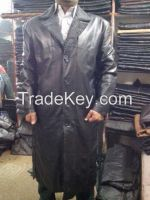 Hot sale 2015 cheap Men's Genuine Cowhide Leather Trench Long Duster Coat