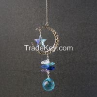 Moon and Star Crystal Pendant Ornaments for Home Decor