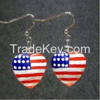 Latest usa flag labelled glass beads earrings with hook