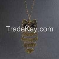 Fashion style antique brass owl shape pendant necklaces