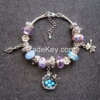 Popular style beads snake chains metal charm bracelets