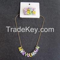 Unique design 26 Alphabet assorted DIY charms necklace