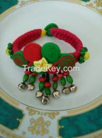 Sell Handmade Folk style fabric Bracelet with small hanging beads
