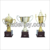 Metal award cup with wood base