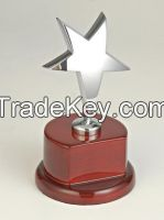 Metal award with wood base