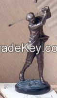 Metal Golfer statue with marble base