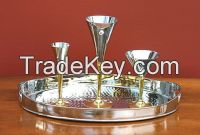 Nickel Plated Tray with set of 3 Cocktail Goblets
