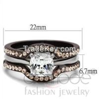 Sell Two Tone Stainless Steel AAA Grade CZ Wedding Ring Sets