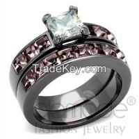 Sell Delicate Pave Diamond Stainless Steel Wedding Ring Sets
