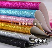 PU glitter material for handbag and wallpaper usage