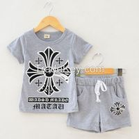 High quality summer children T-shirts +shorts set  wholesale new design children clothings  Kids Clothing Factory