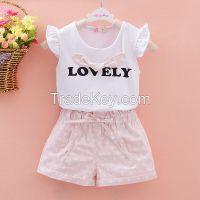 Wholesale In Stock Latest Design chiffonTop +cotton Short 2 Pcs Set Fashion Clothes 2015 Summer