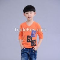 newest fashionable children 100% cotton long sleeve T shirts