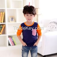 new design long sleeve cotton t-shirts for boys childen clothing factory
